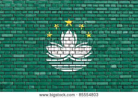 Flag Of Macau Painted On Brick Wall