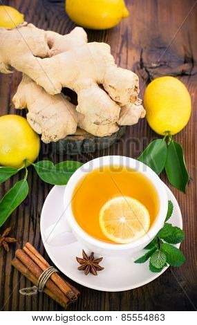 Ginger tea in the cup