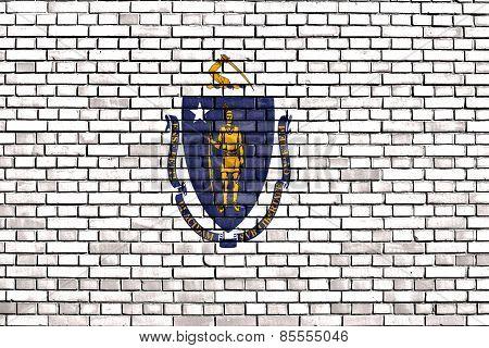 Flag Of Massachusetts Painted On Brick Wall