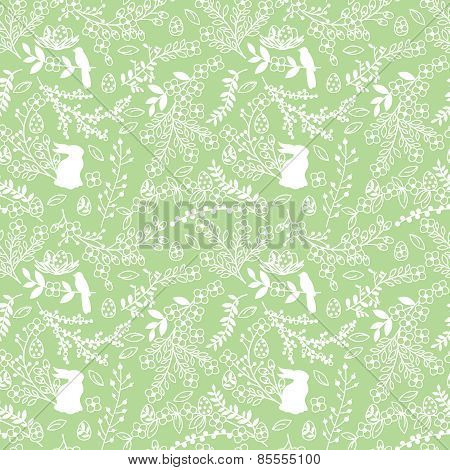 Vector Seamless Tileable Easter Background Pattern with Flowers