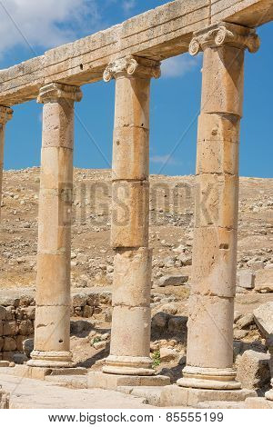 Semi-circle Of Columns Forming A Plaza At The Ancient Ruins Of Jerash In Jordan.