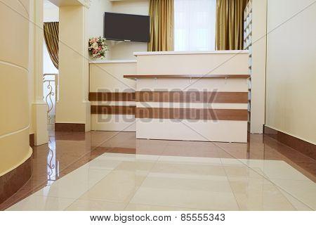 Dental clinic interior, reception desk