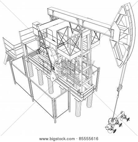 Oil pump jack. Vector rendering of 3d