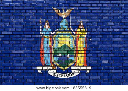 Flag Of New York Painted On Brick Wall