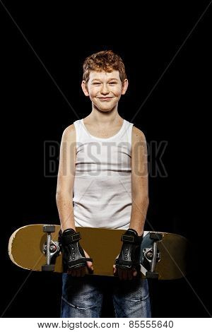Red-haired Boy With Skateboard