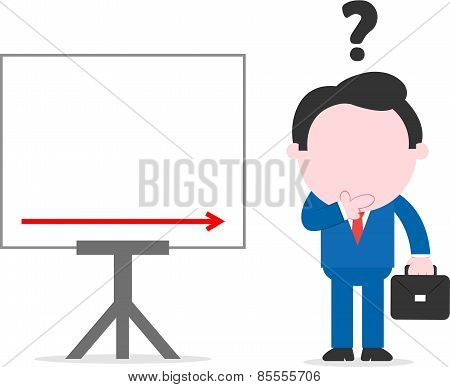 Confused Businessman Beside Chart With Arrow Down