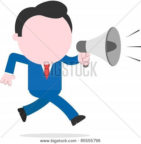 Businessman Running And Holding Megaphone