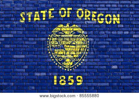 Flag Of Oregon Painted On Brick Wall
