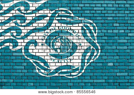 Flag Of Seattle Painted On Brick Wall
