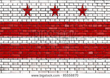 Flag Of Washington D.c. Painted On Brick Wall
