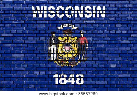 Flag Of Wisconsin Painted On Brick Wall