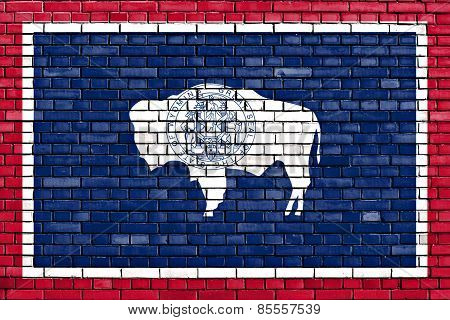 Flag Of Wyoming Painted On Brick Wall