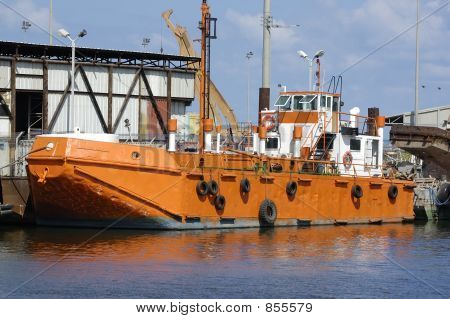 orange tugboat