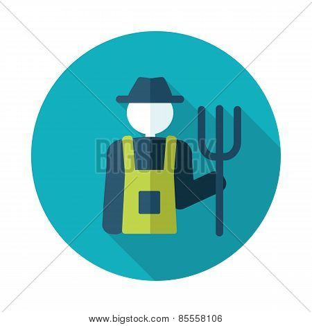 Farmers Flat Icon With Long Shadow