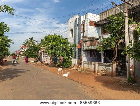 Residential Street In Kumbakonam.