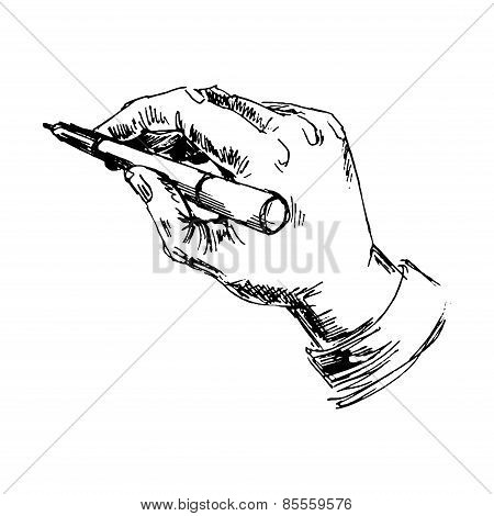 Hand with pencil on white background
