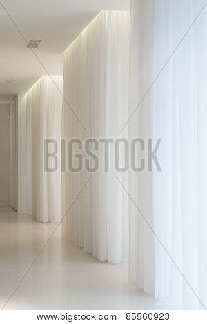 White Corridor In Modern Mansion