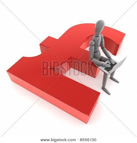 Sitting On Red Pound Symbol With A Laptop