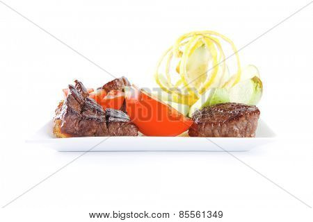 roast red beef meat served on white
