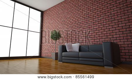 Side View Of An Interior Rendering Of A Living Room With Textures