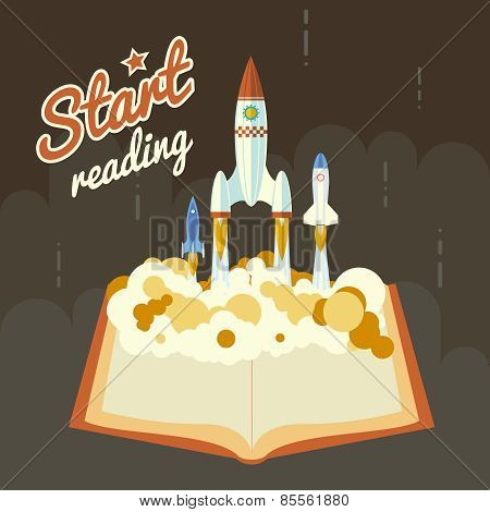 Start Reading Science Fiction Space Poster Concept Symbol Roket Ship Launch Flat Design Icon Templat
