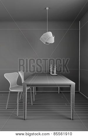 Interior Rendering Of A Kitchen In Wireframe