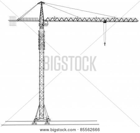 Tower construction crane. Vector rendering of 3d