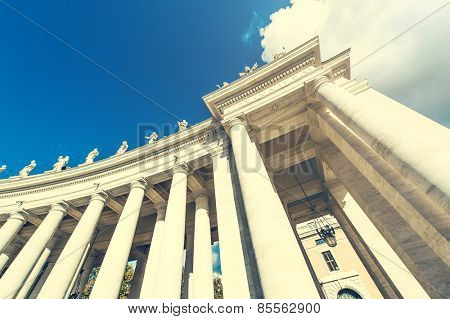 architecture on Saint Peter Square and Saint Peter Basilica, Vatican City, Rome, Italy