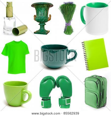 different isolated green objects on a white background