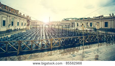 seats on Saint Peter Square near Saint Peter Basilica, Vatican City, Rome, Italy