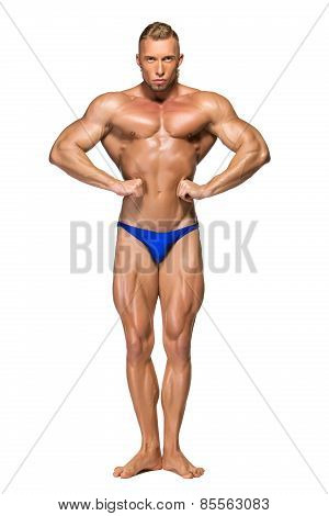 Attractive Male Body Builder On White Background
