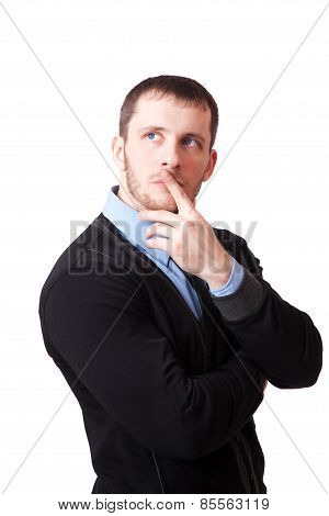 Attractive Man Thoughtfully Rubbing His Chin