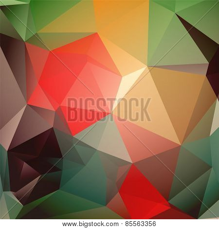 Modern Beautiful Green Red Brown Yellow Triangular Background