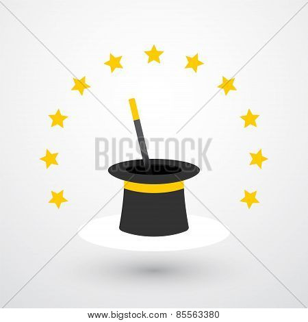 The Magic Hat And Magic Wand With Stars