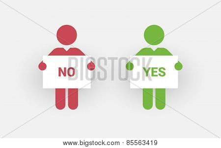 Red And Green Silhouettes Of Two Men With A Sign Right And Wrong