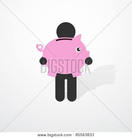 Simple Black Silhouette Of A Man With Pink Piggy Piggy Banks