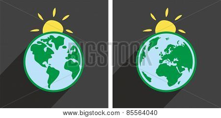 Earth with sun vector icon with green planet