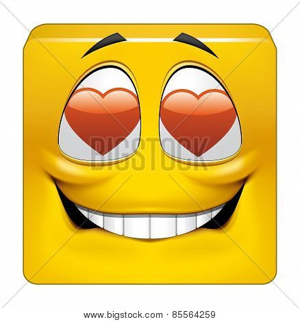Square Emoticon In Love