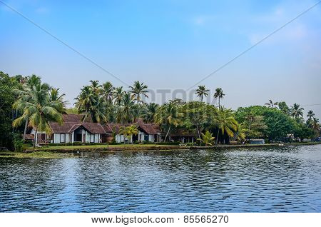 Tropical Indian village in Kerala, India