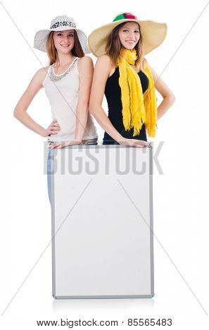 Young women with placard isolated on white