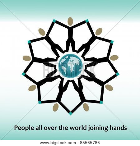 People reaching holding hands globe in Center icon