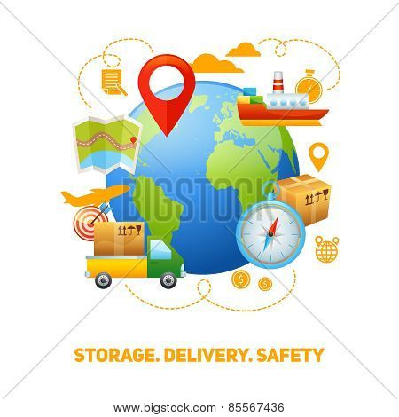 Logistic global concept design illustration