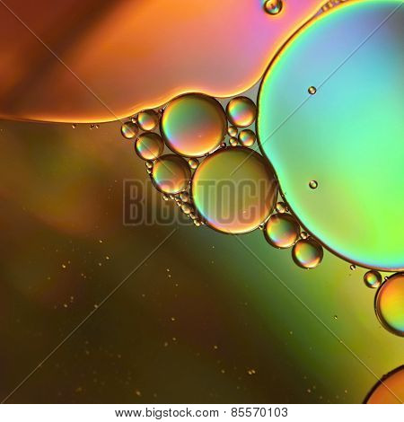 Abstraction, oil colorful bubbles in water.