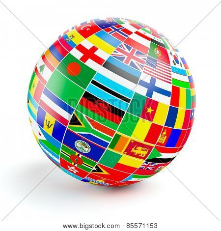 Travel and international business concept - 3d  globe sphere with  flags of the world on white background