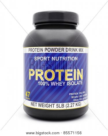 Sport nutrition, bodybuilding supplements, diet concept - whey isolate protein jar isolated on white background