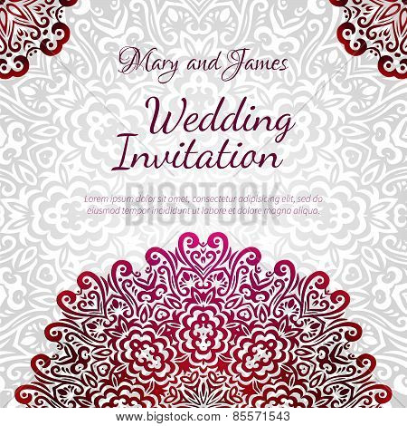 Lacy Vector Wedding Card Template