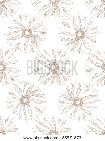 Vintage floral pattern with hand drawn flowers