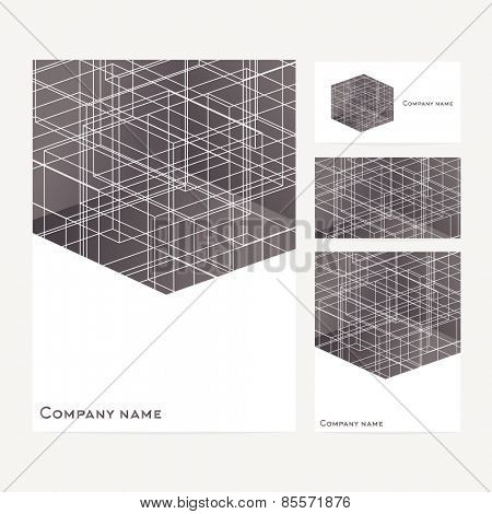 Stationery template design with square elements and white lines