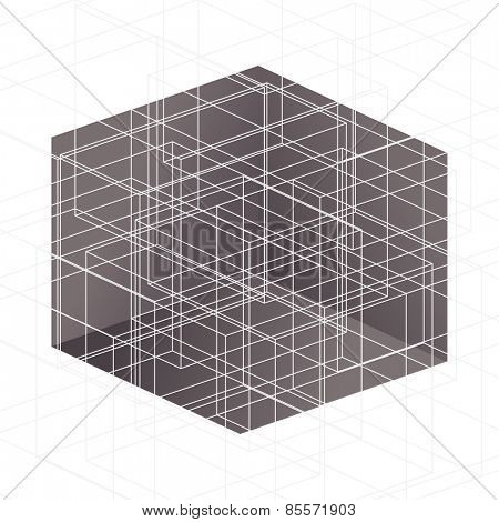 White lines above brown cube Abstract illustration