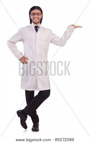 Young male doctor isolated on white